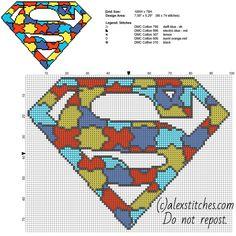 Colored puzzle Superman superhero logo free cross stitch pattern home pillow idea