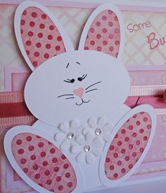 Pink Fuzzy Bunny  Paper Piecing card making and scrapbooking NOT FOR RESALE