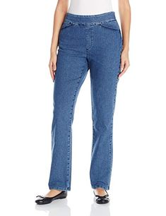 Chic Classic Collection Women's Plus Size Easy Fit Elastic Waist Pull On Pant, Mid Shade, 10 Average Pull-on skinny jean in stretch denim with flat elastic waistband Back welt pockets Also available in petite sizes Petite Leggings, Pants For Women, Clothes For Women, Elastic Waist Pants, Pull On Pants, Classic Collection, Leggings Fashion, Stretch Denim, Mom Jeans