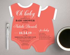 Coral Baby Shower Invitations, Oh Baby Invitations, bodysuit invitation, Baby Girl invitations, Fancy invites, printed with envelopes