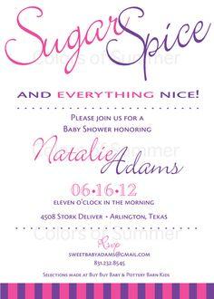 Sugar & Spice Baby Shower Invitation  Digital by colorsofsummer, $12.00