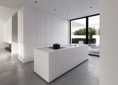 This clean interior design of a detached house in Warsaw, by Tamizo Architects, depicts a serene take on modern day living style, with a spacious open plan visi Home Interior Design, House Design, Interior Design Kitchen, Modern Interior Design, House Interior, White Kitchen Design, Clean Interior Design, White Kitchen Decor, Home Decor