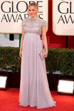 A pregnant Kristen Bell in Jenny Packham at the Golden Globes 2013