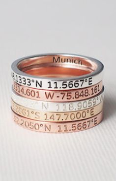 beautiful coordinate rings use for bridesmaids gifts using the coordinates of where we met