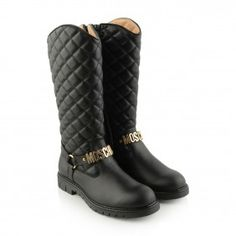 Moschino Girls Black Leather Quilted Boots