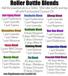 Essential oil rollerball blends - substitute DoTerra brand names with Young Living (or other company's) equivalent. Doterra Essential, Internet Site, ...