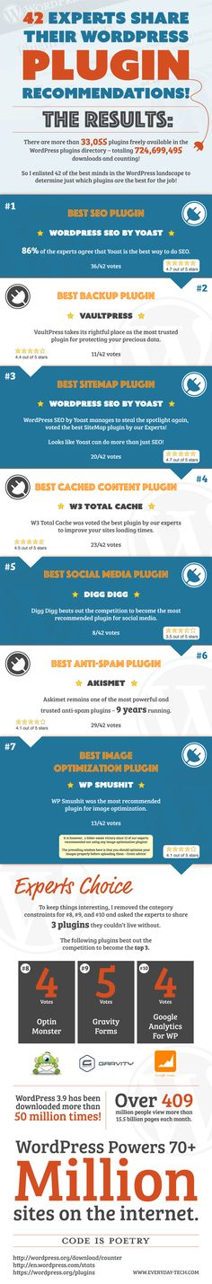 42 Experts Share Their WordPress Plugin Recommendations - Do you fancy an infographic? There are a lot of them online, but if you want your own please visit http://www.linfografico.com/prezzi/ Online girano molte infografiche, se ne vuoi realizzare una tutta tua visita http://www.linfografico.com/prezzi/