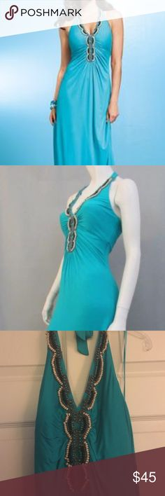 Cache teal maxi dress Cache teal maxi dress. Size medium. Lots of beading. Worn once to dinner. Cache Dresses Maxi
