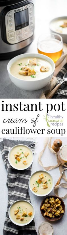 Today's new recipe for Easy Instant Pot Cream of Cauliflower Soup with Sharp White Cheddar Cheese is the first of my new pressure cooker recipes here on Healthy Seasonal Recipes. But if you haven't bought an instant pot yet, there's a slow cooker option as well. The recipe is naturally gluten-free and only 245 calories per cup! #glutenfree #vegetarian #cauliflower #soup #instantpot #pressurecooker #healthyseasonal via @healthyseasonal New Pressure Cooker, Pressure Cooker Recipes, Pressure Cooking, Cauliflower Soup, Cauliflower Recipes, Healthy Soup Recipes, Whole Food Recipes, Healthy Lunches, Easy Recipes