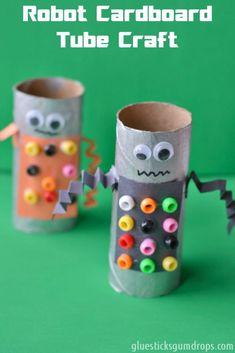 Toilet Paper Roll Craft : This robot cardboard tube craft is so fun to make!Robot Toilet Paper Roll Craft : This robot cardboard tube craft is so fun to make! Cardboard Tube Crafts, Toilet Paper Roll Crafts, Paper Crafts For Kids, Craft Activities For Kids, Paper Crafting, Diy For Kids, Craft Ideas, Cardboard Robot, Cardboard Playhouse