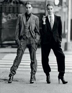 Dapper, Tuxedo-Clad Gals: The Multi-Model Editorial, 'New Faces' in French Revue De Mode