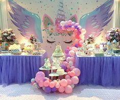 Epic winged unicorn party set up Unicorn Themed Birthday Party, First Birthday Parties, Birthday Party Decorations, Birthday Ideas, Cake Birthday, 5th Birthday, Unicorn Baby Shower, Bday Girl, Pony Party