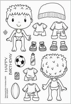 Kanban clear rubber stamps - Patchwork Pals - Billy, Sports