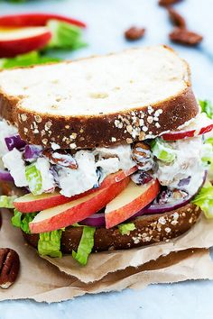 This lighter Apple Pecan Chicken Salad Sandwich is our new favorite work day lunch!