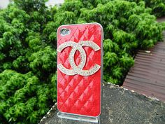 Metal CC phone case  red leather case cover   loves iphone case  cell phone cases and covers  iPhone 4s case iPhone cover
