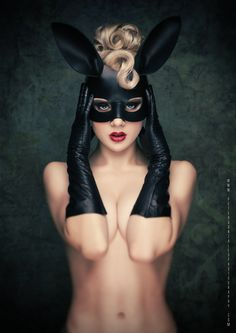 """""""Black Bunny"""" - Model: Miss Mosh, Photographer: Peter Gonzales, Original in Colour. Miss Mosh, Boudoir Photography, Fashion Photography, Photography Magazine, People Photography, White Photography, Portrait Photography, Pin Up, Bunny Mask"""