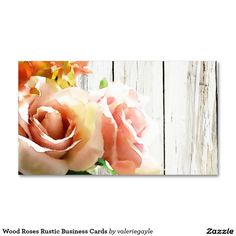 Wood Roses Rustic Business Cards