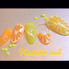 オレンジ&レモンnail ♡ ① #イエロー #オレンジ #フルーツ #夏 #海 #リゾート #YukariTsujimura #ネイルブック