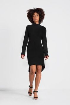 The little black dress of your dreams. The Custom Wren dress features an elegant mock... Wren, Cowl, Hemline, Dreaming Of You, High Neck Dress, Turtle Neck, Dreams, Elegant, Sleeves