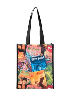 Small shopper tote with Harry Potter book covers collage design.