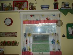 Retro Kitchen Curtains | Ragtop Originals: Kitchen curtains from vintage table cloth. A shelf like this over the double kitchen windows.