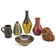 EUROPEAN Six miniature vases, including Rozenburg, Herman Kahler, Massier, and Doulton Various markings
