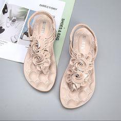 e504fa5d68d7 Flower Bohemia Clip Toe Elastic Flat Sandals For Women Sandals For Sale