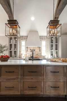 Uplifting Kitchen Remodeling Choosing Your New Kitchen Cabinets Ideas. Delightful Kitchen Remodeling Choosing Your New Kitchen Cabinets Ideas. Rustic Kitchen Island, Farmhouse Kitchen Cabinets, Farmhouse Style Kitchen, Modern Farmhouse Kitchens, Kitchen Cabinet Design, Home Decor Kitchen, Home Kitchens, Kitchen Ideas, Rustic Farmhouse