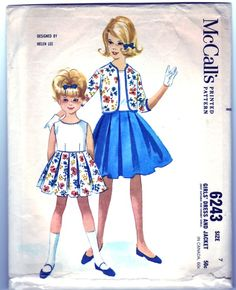 "6243 Girls' Dress and Jacket. Sleeveless, back buttoned dress with unpressed box pleat in three-gore skirt. Collarless, open front jacket. Dress neck and armholes bound with bias self fabric. Corded piping in front waistline seam, ends of back belt in bodice side seams. Unlined jacket has three-quarter set-in sleeves; all edges bound with bias fabric to match skirt. Add a photo to the gallery by clicking the ""modify"" button below."
