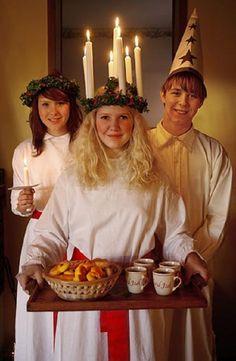 Lucia ,tärna och stjärngosse 13 of December! Swedish Christmas Traditions, Scandinavian Christmas, Danish Christmas, Scandinavian Style, Santa Lucia Day, Stockholm, Sainte Lucie, Holidays Around The World, Swedish Style