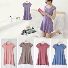 Womens Short Sleeve Cotton Casual Crew Neck Sundress Summer T-shirt Mini Dresses