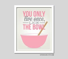 The original lick the bowl print, Pyrex bowl print, vintage bowl print, funny kitchen print, pink kitchen, baking print, retro inspired art