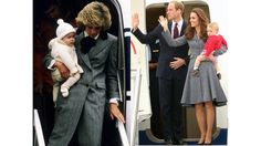 Diana carries a young Prince Harry off a plane at Aberdeen International Airport in Scotland in 1985; Kate, William, and Prince George board their flight from Australia on the final day of the Royal Tour of Australia and New Zealand, 2014.   - ELLE.com