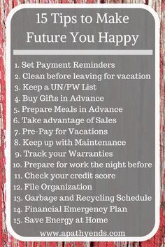 Tips to Make Future You Happy 15 Tips to make future you happy! A little planning goes a long way, start prepping for future you today via Tips to make future you happy! A little planning goes a long way, start prepping for future you today via Stephen Covey, Money Tips, Money Saving Tips, Stress, Finance Tips, Finance Books, Life Organization, Money Matters, Motivation
