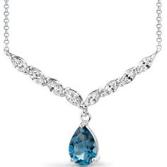 3.00 Carats Pear Shape London Blue Topaz & White CZ Necklace in Sterling Silver Style SV1526