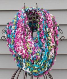 Sale Take 25 percent off Coupon code:( Take25)   Hand Knit Cowl-Varigated Color in Pink,Teal, Green, White. Ready to ship