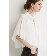 Love 21 Women's  Contemporary Self-Tie Neck Cropped Blouse ($13) ❤ liked on Polyvore featuring tops, blouses, sleeve blouse, 3/4 sleeve crop top, three quarter sleeve tops, 3/4 sleeve tops and 3/4 length sleeve blouse