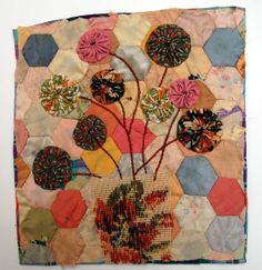 Mandy Patullo, love the yo-yos on this beautiful quilt piece. Unframed appliqued picture on to old piece of quilt Bird Applique, Bird Quilt, Art Textile, Textiles, Fibre Art, Mini Quilts, Quilt Bedding, Maths, Thrift