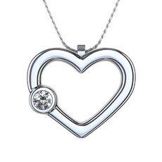 LOVE THIS!! Colgante en Forma de Corazón en Paladio con Diamante Solitario
