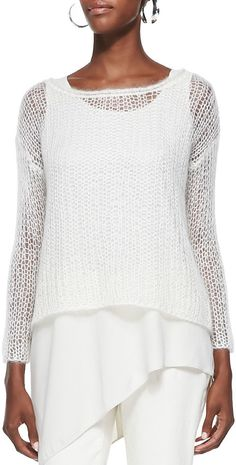 Eileen Fisher Mohair Mesh Long-Sleeve Top
