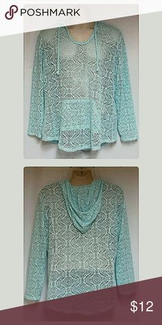 """Women's Mint Green Lace Hoodie Size 16/18 Item PMTC -0110  This is a beautiful like-new all lave hoodie in a gorgeous shade of mint green.   3/4 length sleeves and center pocket on front. Please note there are no fabric or size tags on this garment.  Size 16/18  is a guesstimate based on the following measurements.  These measurements were taken while garment was laying flat and doubled.  Bust 46"""" around.  Waist 42"""" around.  Hips 43"""" around.  Length from edge of shoulder to hem 24"""". Tops…"""