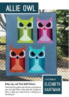 ALLIE OWL Elizabeth Hartman Quilt Modern Pattern 3 Sizes by PrivateSourceQuiltin on Etsy