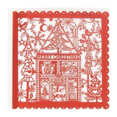 paper cut Christmas card