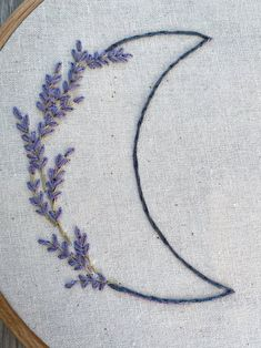 Lavender and Wildflower Moons 2 for 1 Hand Embroidery PDF Pattern - Nursery Decor - Digital Pattern - Moon - DIY Nursery - Baby Shower Gift Simple Embroidery Designs, Embroidery Stitches Tutorial, Embroidery Flowers Pattern, Embroidery On Clothes, Hand Embroidery Patterns, Embroidery Hoop Art, Cross Stitch Embroidery, Beginner Embroidery, Jean Embroidery