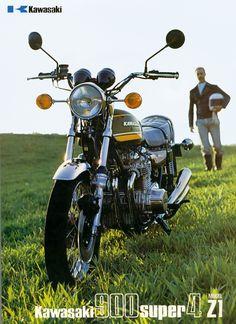 Kawasaki Z1 900cc Super 4. One of the most collectible Kawasaki motorcycles. Great Pic! www.motorbikestunt.co.uk
