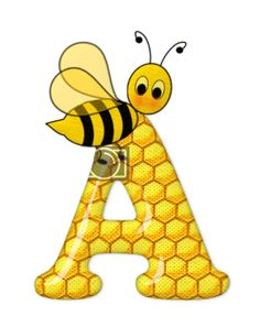 Alphabet letters bee on honeycomb. Alphabet Letters Design, Alphabet And Numbers, Fancy Letters, Scrapbook Letters, Bee Pictures, Spelling Bee, Bee Party, Bee Crafts, Creations
