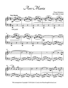 Ave Maria by Schubert, piano solo with free sheet music.