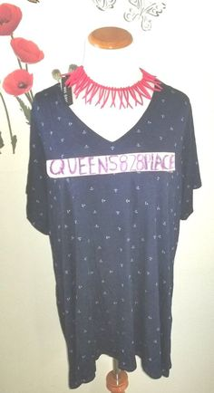 Nwt Max Jeans Womens Plus Size 2X Stretch Navy Blue Anchor Top Shirt Blouse New #MaxJeans #top #Casual