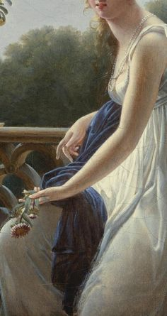 """A young woman seated by a window"""" (detail) - Marie Denise Villers (1774-1821)"""