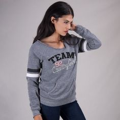 The Country Girl Sport Fleece Sweatshirt features bold arm stripes & pocket accents. The sweatshirt is made with oz. Girl Outfits, Cute Outfits, Fashion Outfits, Fashion Trends, Country Women, Country Girls, Girls Fleece, Fashion Line, Sport Girl